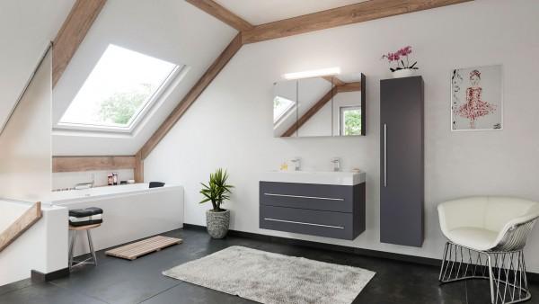 POSSEIK - LIVONO Set Doppelbadmöbel 100 cm (3-teilig) anthrazit seidenglanz
