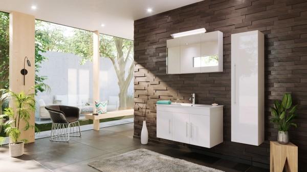 POSSEIK - TERAMO Set Badmöbel 100 cm (3-teilig) weiß hochglanz
