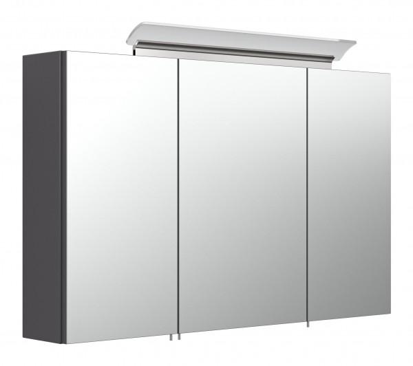 Spiegelschrank 100 inklusive LED-Acrylglaslampe anthrazit seidenglanz