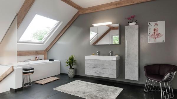 POSSEIK - LIVONO Set Doppelbadmöbel 100 cm (3-teilig) Beton