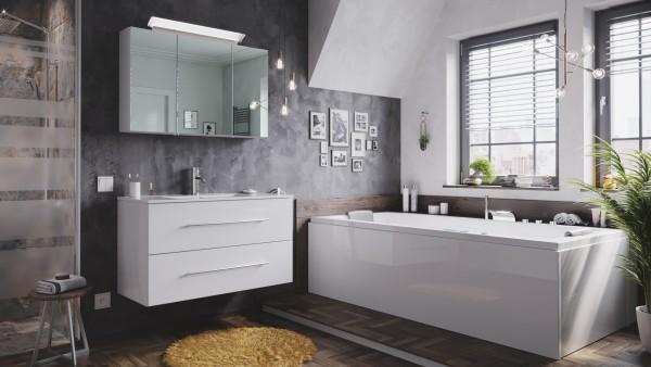 POSSEIK - Badmöbel-Set Homeline 100 (2-teilig) inkl. Spiegelschrank mit Design LED-Lampe