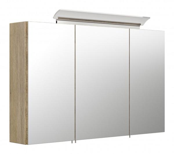Spiegelschrank 100 inklusive LED-Acrylglaslampe eiche hell seidenglanz