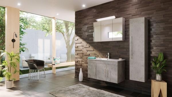 POSSEIK - TERAMO Set Badmöbel 100 cm (3-teilig) beton