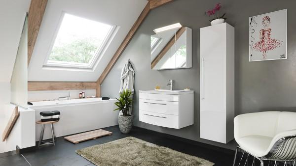 POSSEIK - Badmöbelset Luna 80, runde Front Spiegelschrank LED Hochschrank Weiß Hochglanz